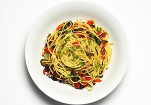 Spaghetti Olives Capers Roasted Red Peppers