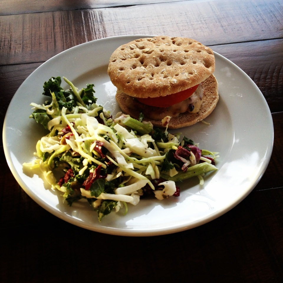 Burger with Chopped Kale Salad