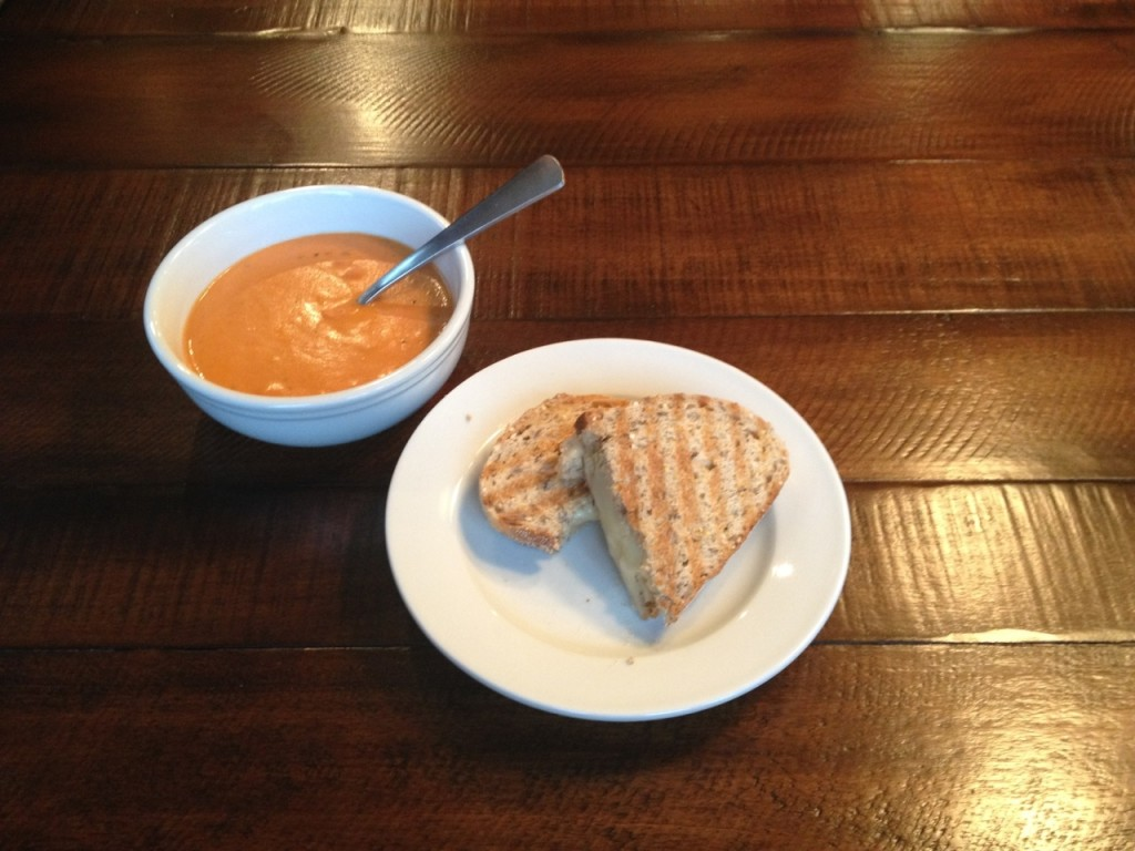 Roasted Red Pepper and Tomato soup with Grilled Cheese