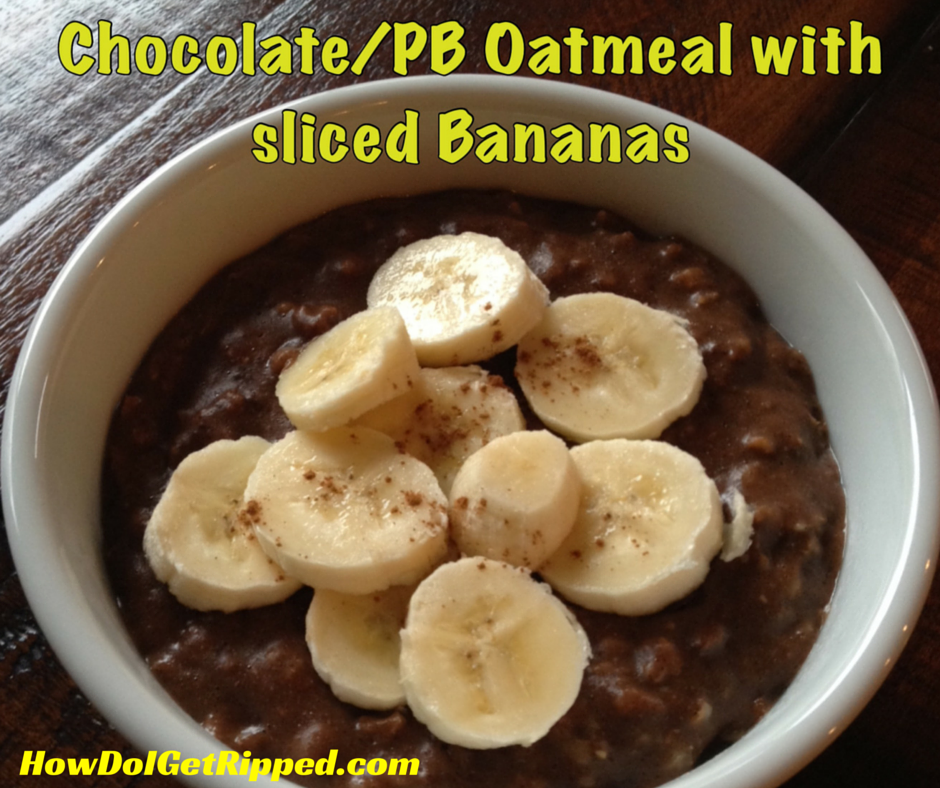 Chocolate Peanut Butter Oatmeal with Bananas