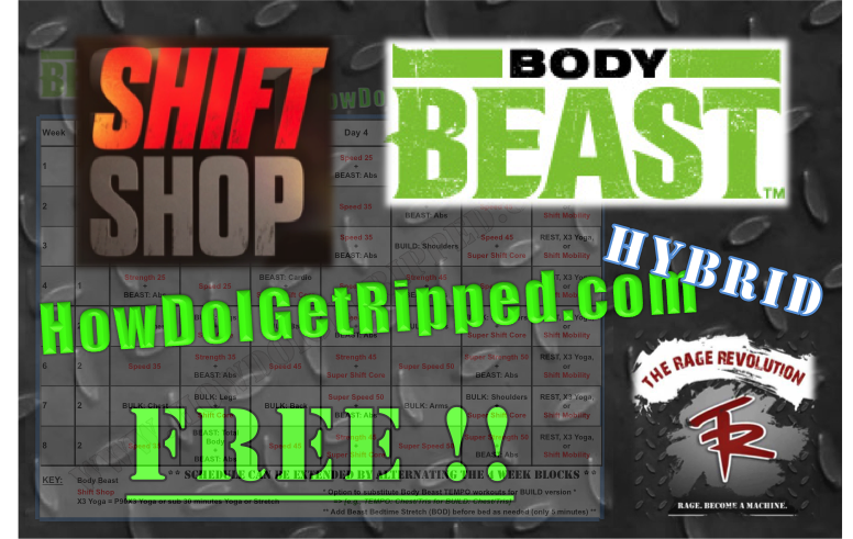 HowDoIGetRipped Body Beast Shift Shop Hybrid Schedule